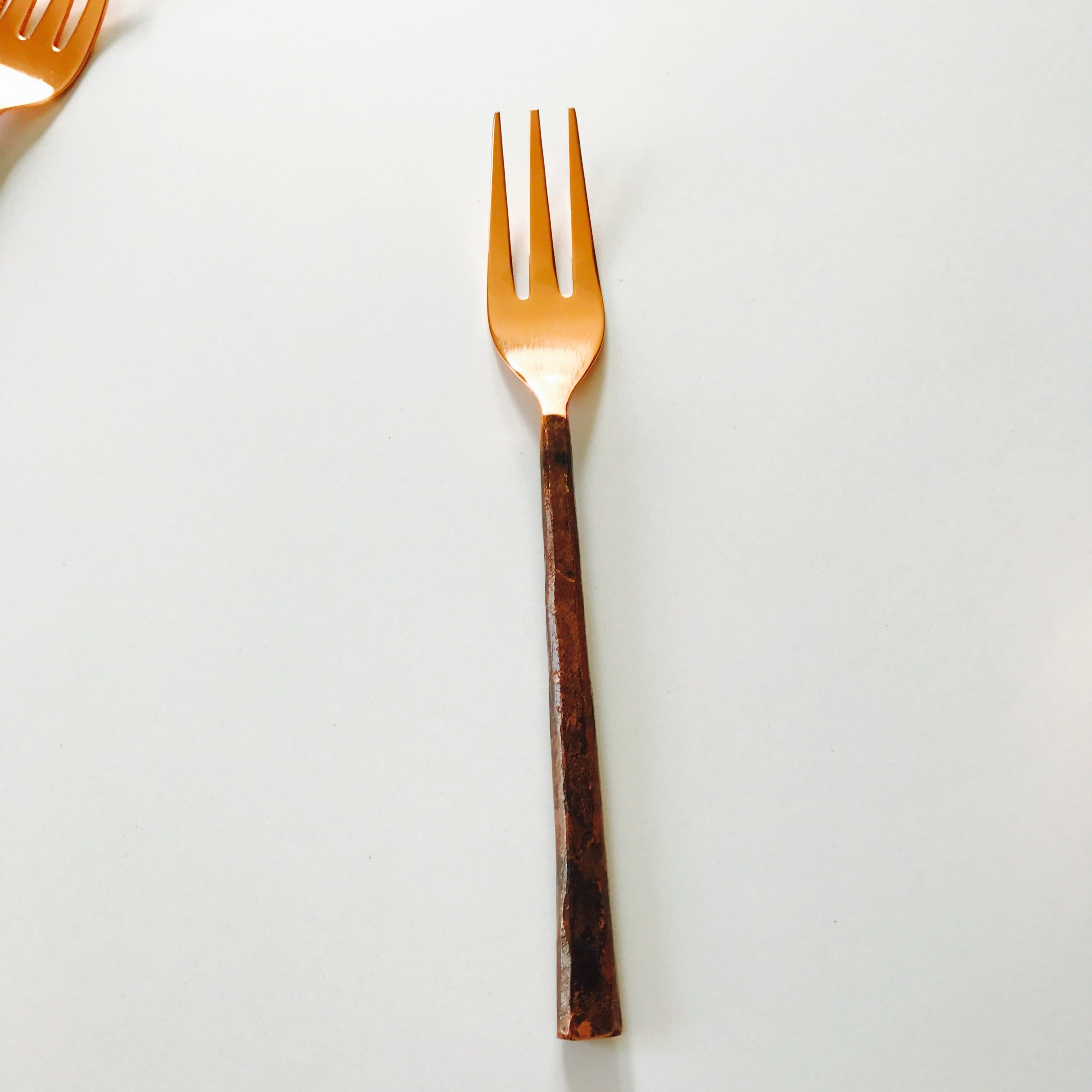 HAND-FORGED COPPER FORK. READY FOR EATING.