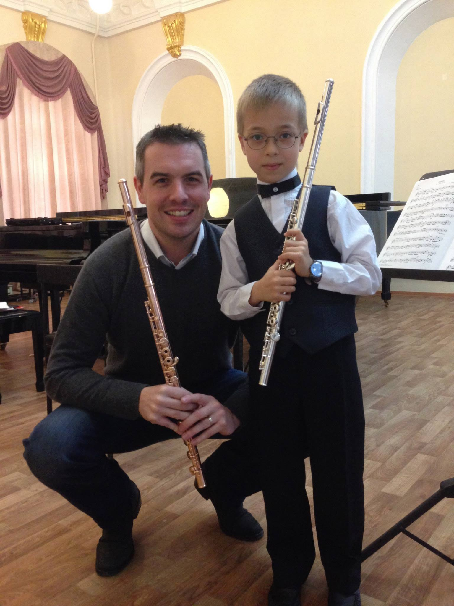 With a very young Flute Student in Kazan