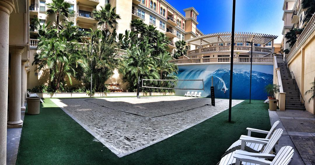 Downtown LA | Artificial Turf, Volleyball Court, and Surrounding Landscape