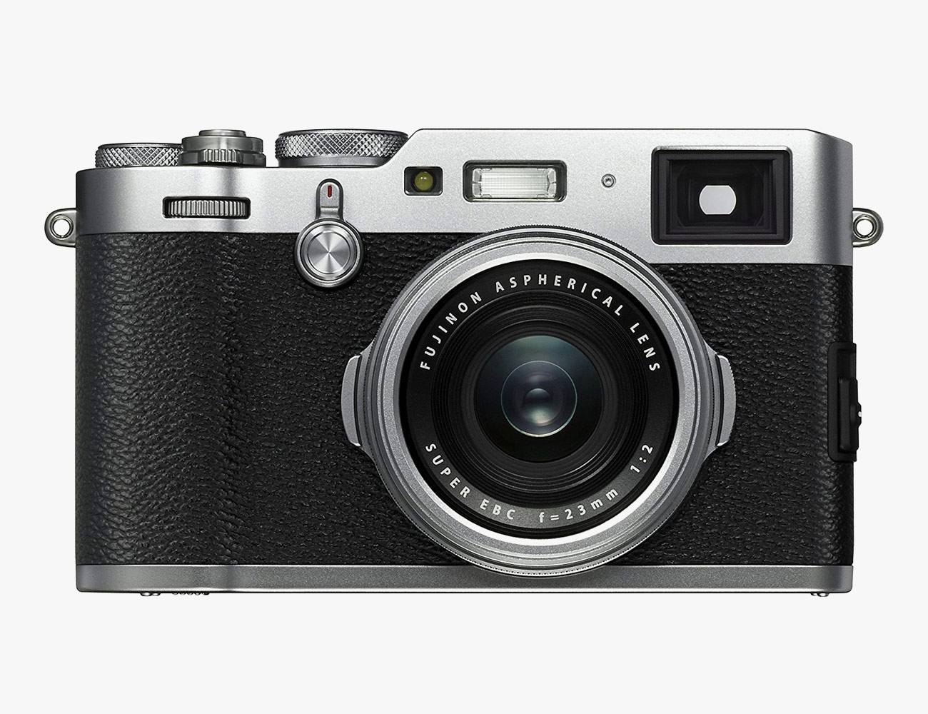 Sensor: 24MP X-Trans CMOS sensor  Lens: 35mm equivalent F2 lens  Unique Features: physical aperture control ring, wide angle lens, great image quality