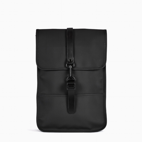 - The Backpack:despite it's minimalist approach, the RAINS Backpack Mini does stay true to RAINS' priority for water-resistance. Constructed by a water-resistant polyurethane/polyester outer shell construction, featuring a front flap closure with adjustable metal buckle lock clip (along with a pocket for your laptop and a separate space for your valuables).
