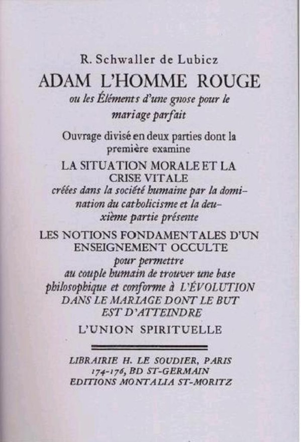 Title page of Schwaller's 1926 work,  Adam l'homme rouge  (Adam the Red Man).