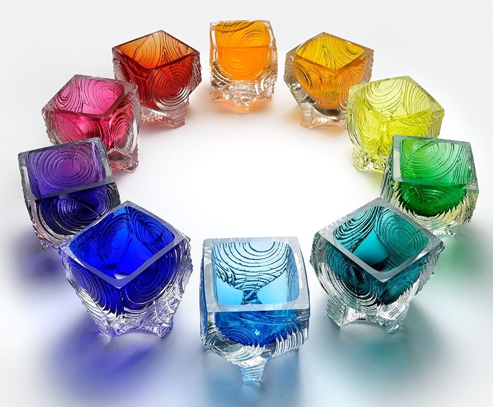 CUBE CUP LUMINARIA,  mold formed blown glass,  3.5 x 3.5 x 4 inches.  Mix and match - available in 10 colors.