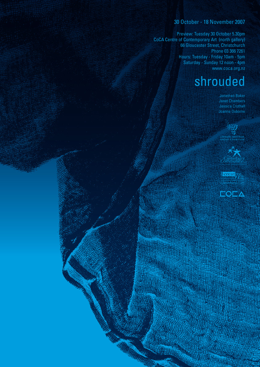 Shrouded - exhibition poster / postcard for Chrysalis Seed Trust group exhibition, CoCA, Christchurch.