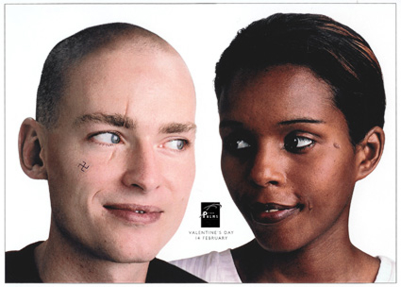 The Palms (shopping mall) – Valentines Day Press ad and poster – A skinhead guy and Somali girl in love.