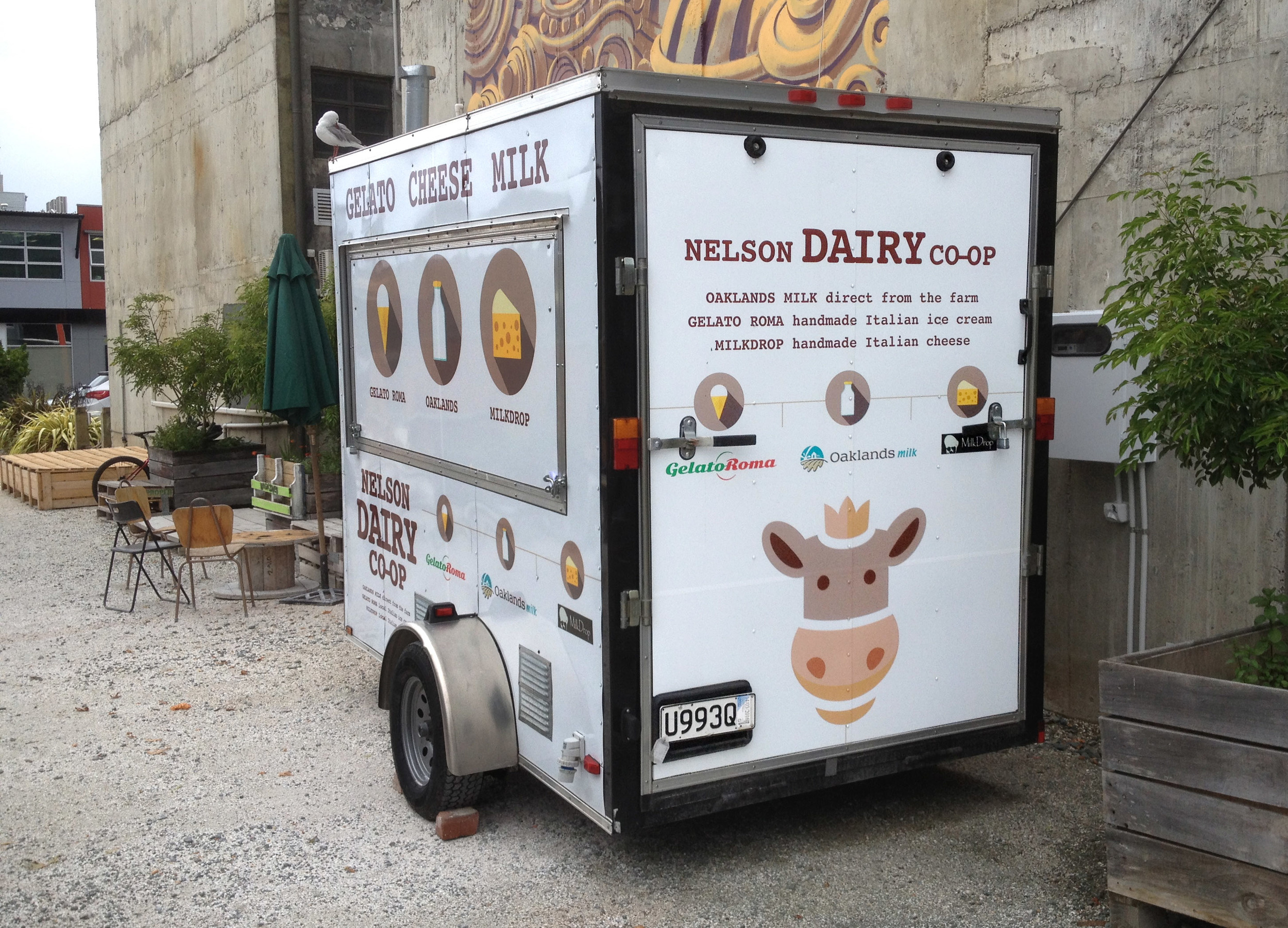 Nelson Dairy Co-Op trailer branding (in situation).