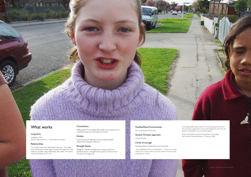 Crossover Trust – profile for youth support organisation (inside spread)