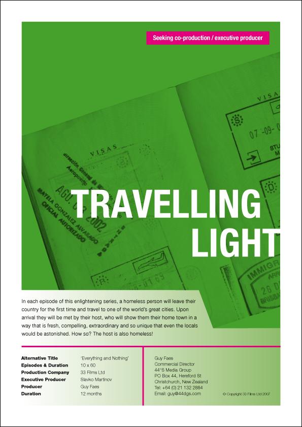 44°S Media Group – Travelling Light – recruitment flyer for doco series