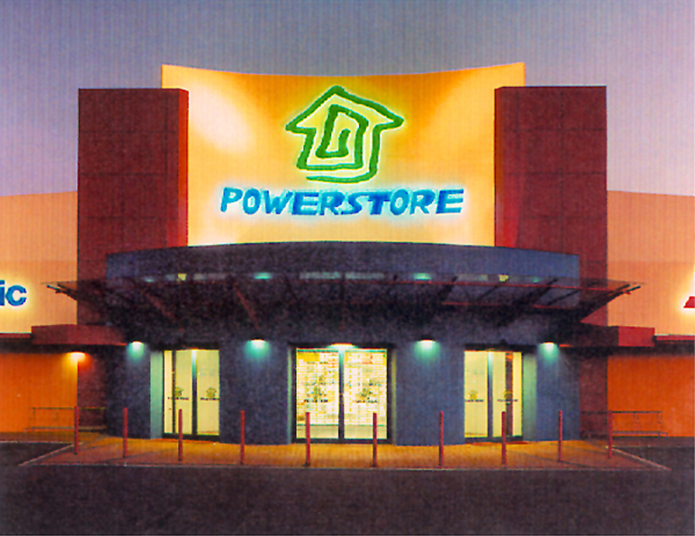 Powerstore – Logo and signage design for store entrance.