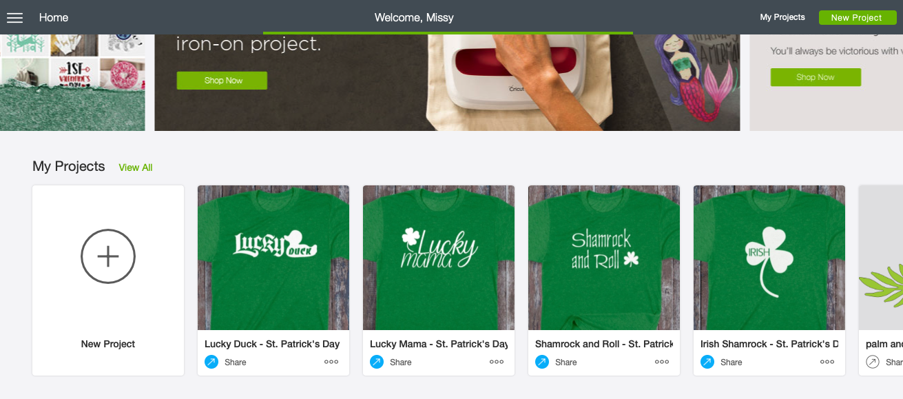 In my Cricut Design Space, the t-shirt designs are listed as MY Projects. I've shared them publicly and used Cricut Fonts and existing designs that you can use!