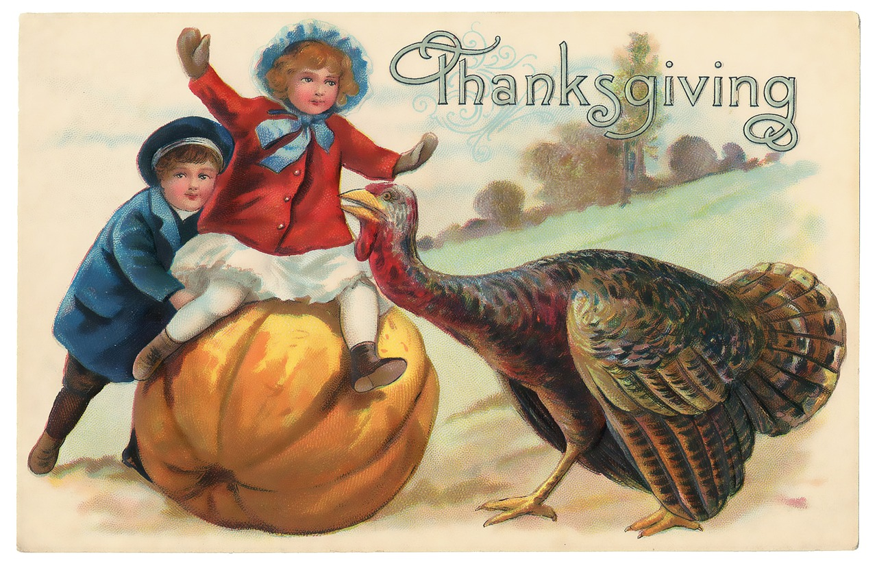 Why are those children not  terrified by that turkey? image from Pixabay