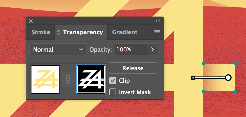 A black and white gradient shape added to the opacity mask.