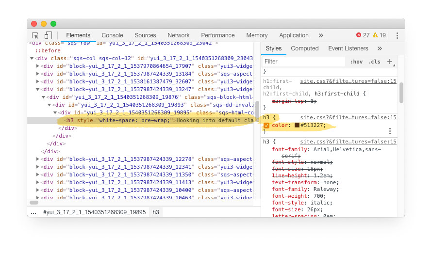 Developer tools code window  — The h3 tag can have multiple definitions. Seen here the color is defined separately from the meat of the h3. These are all SquareSpace defaults — we haven't done anything yet.
