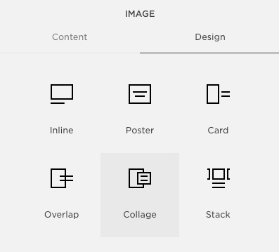 Collage block —  these   offer a nice opportunity to style the text overlay portion.