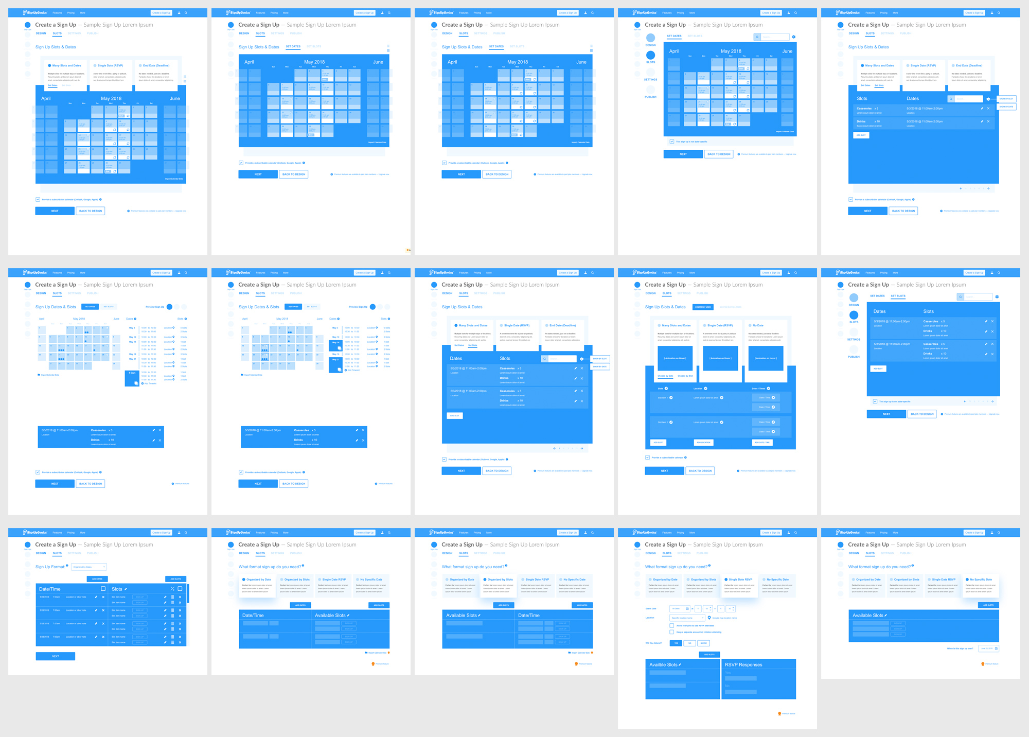 A whole lot of wireframes were generated with possibilities on how to merge two steps together.