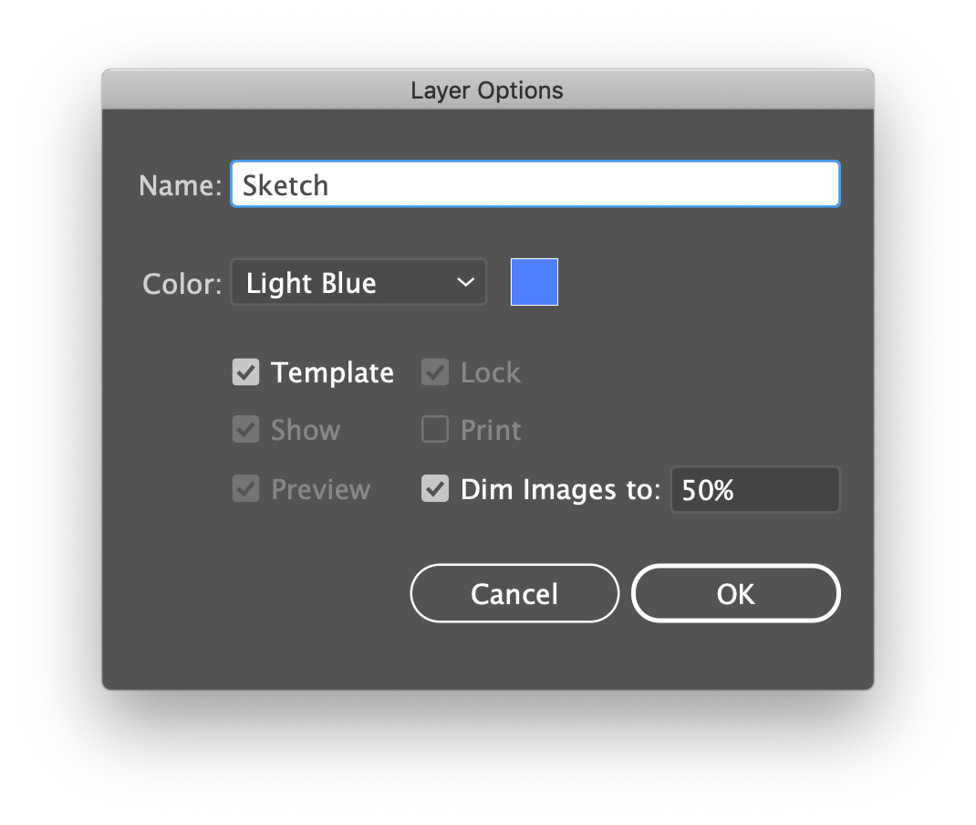 Double-clicking a layer will bring up its options dialog. Set the layer as a Template layer.