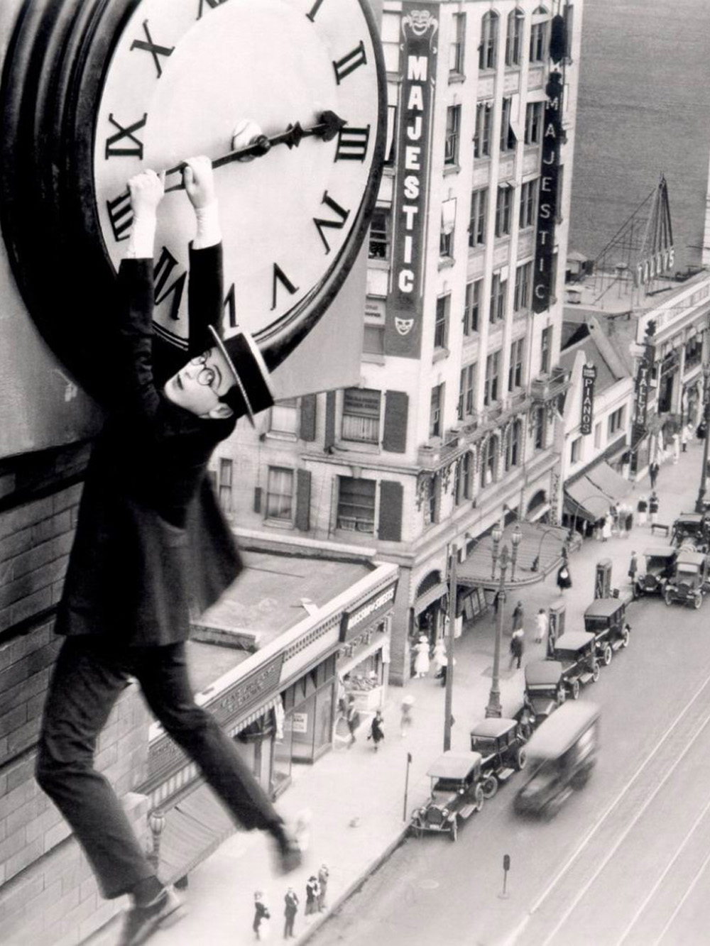 Harold Lloyd in Safety last! 1923 scene from Christian Marclay's The Clock