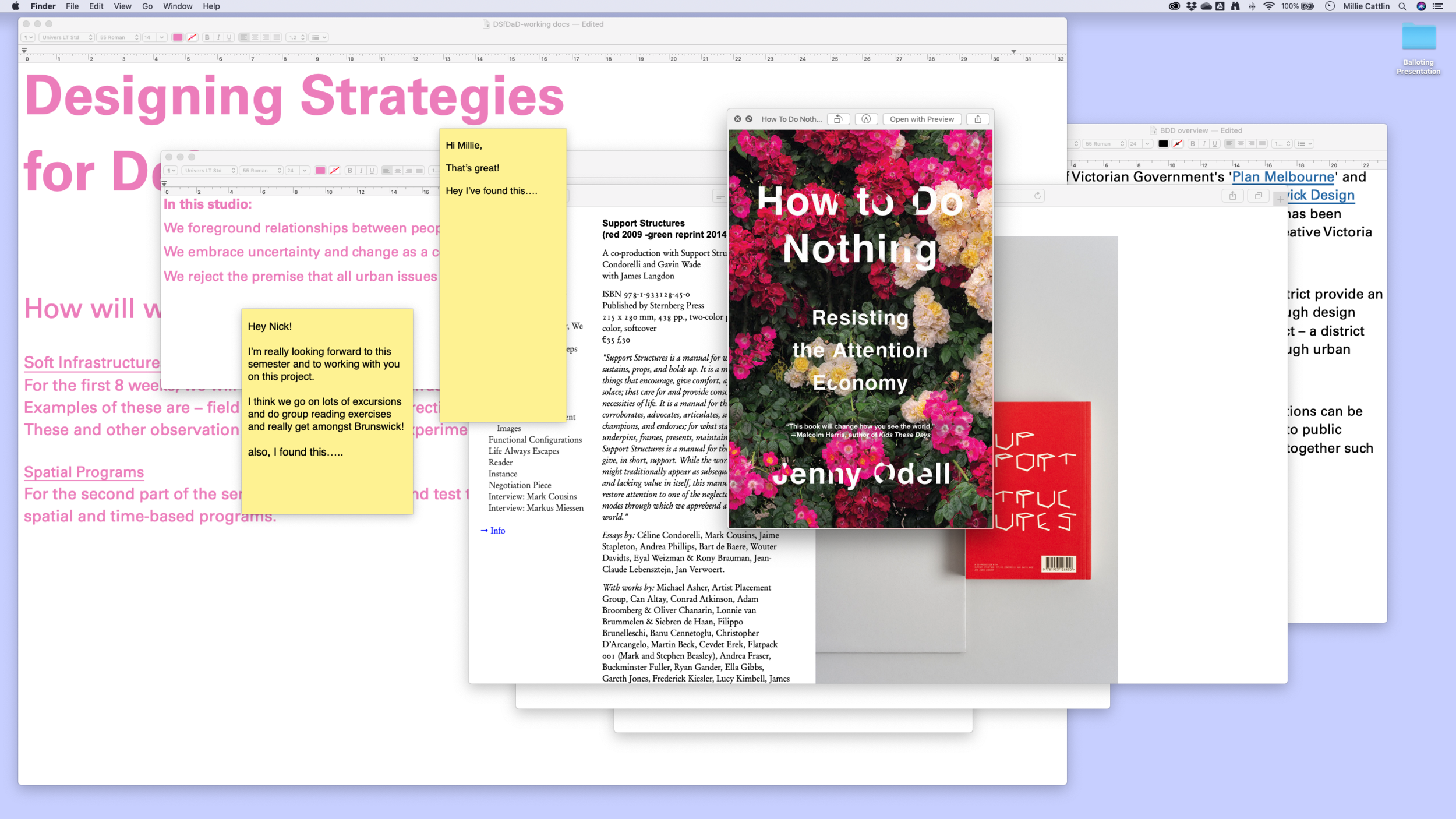Image: Millie Cattlin + Nick Rebstadt in process of designing strategies for  Designing Strategies for Defining A District*  (2019)