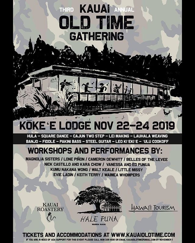 Proud to be helping to put together this amazing event for the third year in a row! The Kauai Old Time Gathering is a celebration of the rich history and musical traditions of Kauai's westside and the mainland. Accommodations available now at kauaoldtime.com - packages start at $100 for 4 nights of camping and music. Bring an 'ulu dish to our first ever 'ulu cookoff NOON Saturday 11/23 at CCC Camp for a chance to win some awesome prizes! Come ready to learn, dance, play music, eat food and have fun! Follow @kauaioldtime for more updates. Farmers Market today as usual 3:30-5:30 - we accept FOODSTAMPS! #kauaievents  #thingstodokauai #westkauai #oldtimemusic #oldtimefestival #hawaiianmusic #hula #squaredance #cajun #kauai #kokee #halepuna #kauaioldtime #kokeelodge