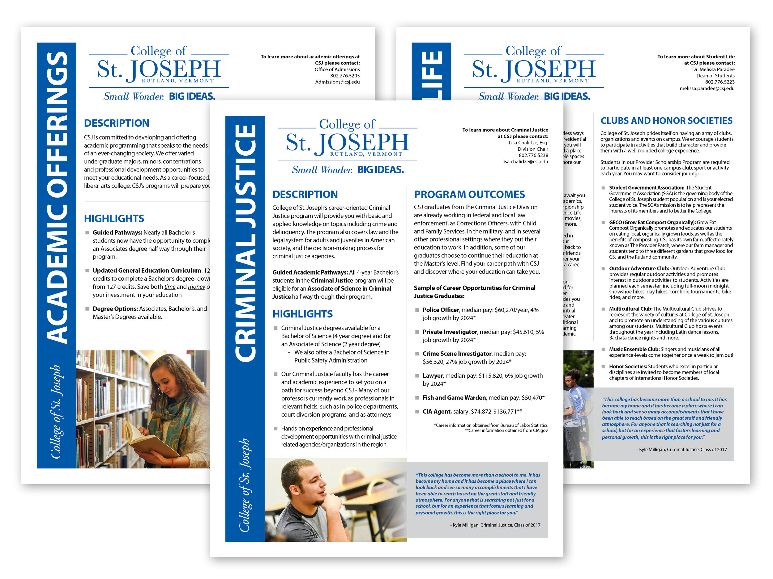 Series of 2-sided info sheets