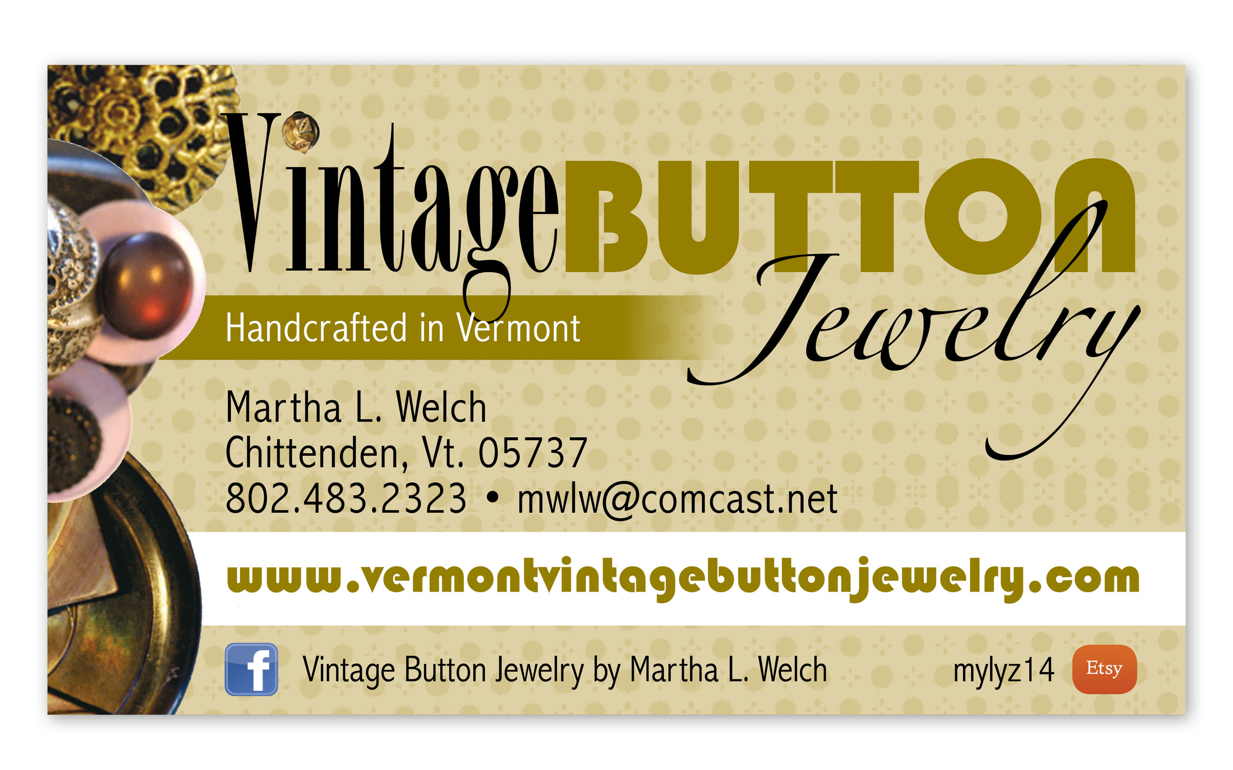 Client:  Vintage Button Jewelry by Martha Welch