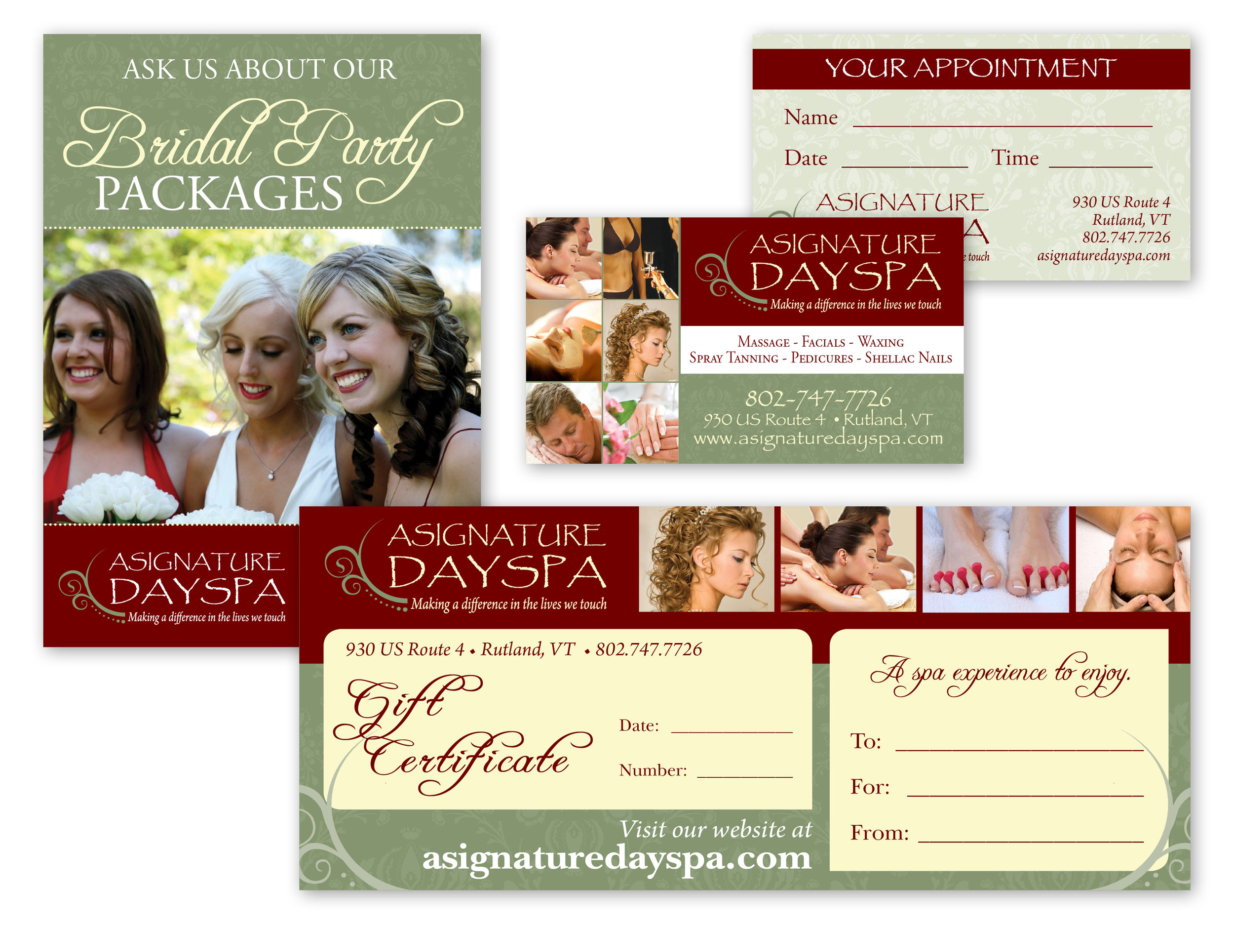 Marketing Materials: Spa Offering Poster, Business/Apt Card, Gift Certificate