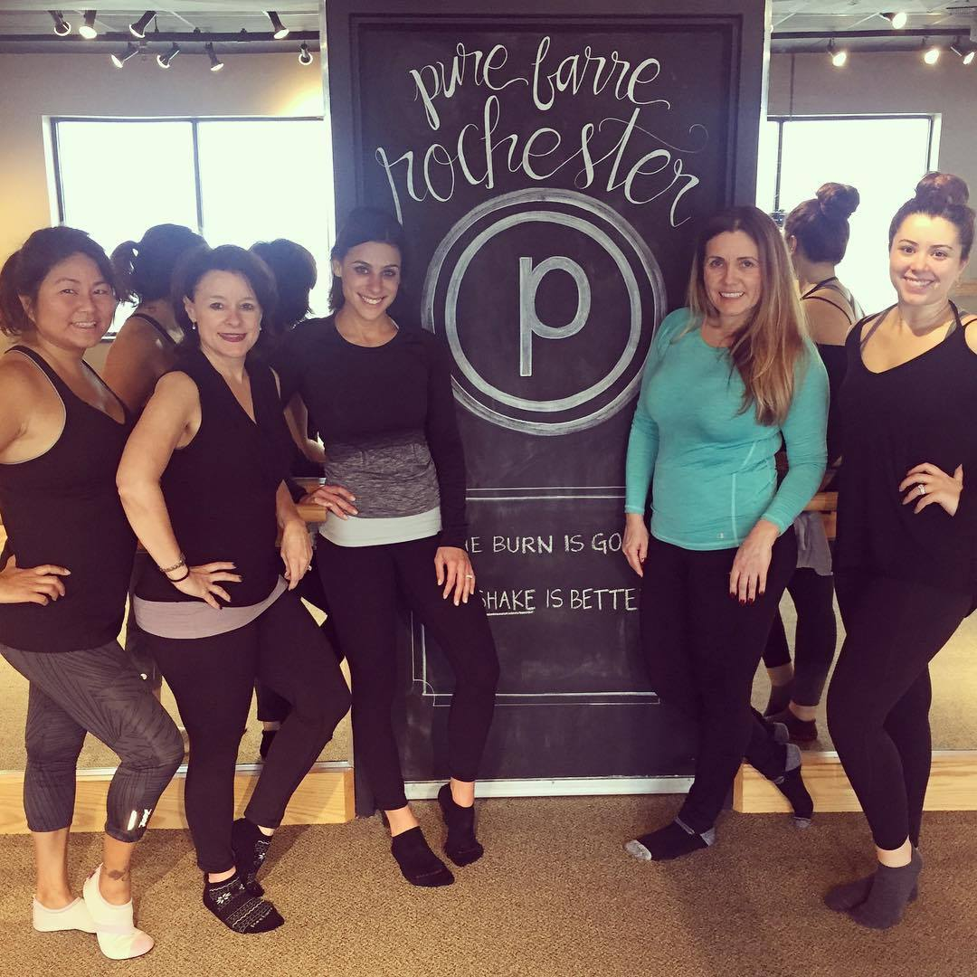 Board Members Doris Gilles, Nancy Salvia, Natasha Milosavlevski and Meaghan Brown with Pure Barre Rochester studio owner, Kristin Mitzel (third from left).