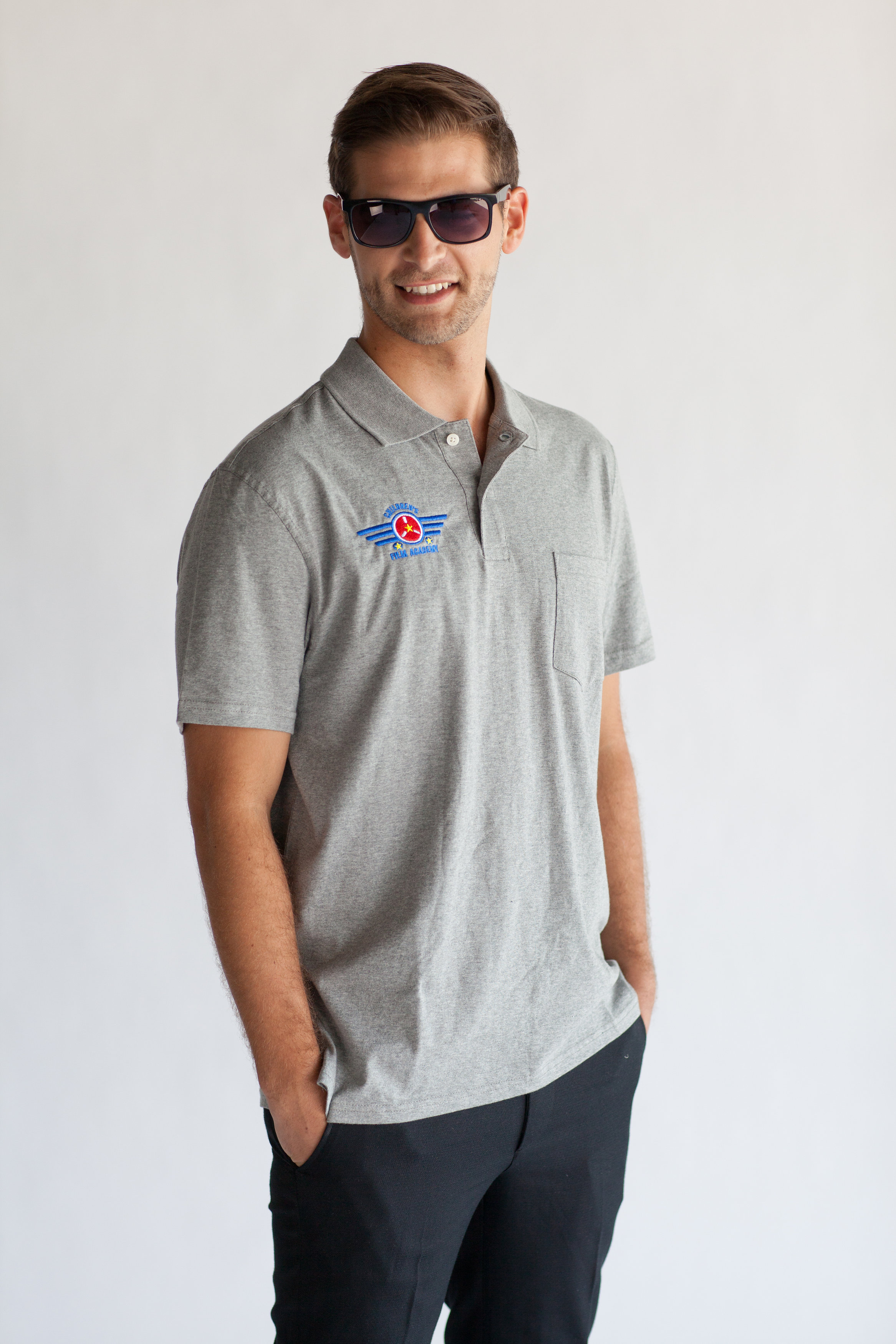 Men's Grey Academy Polo $18