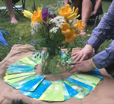 A recent Soulful Work Community gathering on connecting with the wisdom of flowers (with Lisa Estabrook of  Soulflower Plant Spirit Art ).