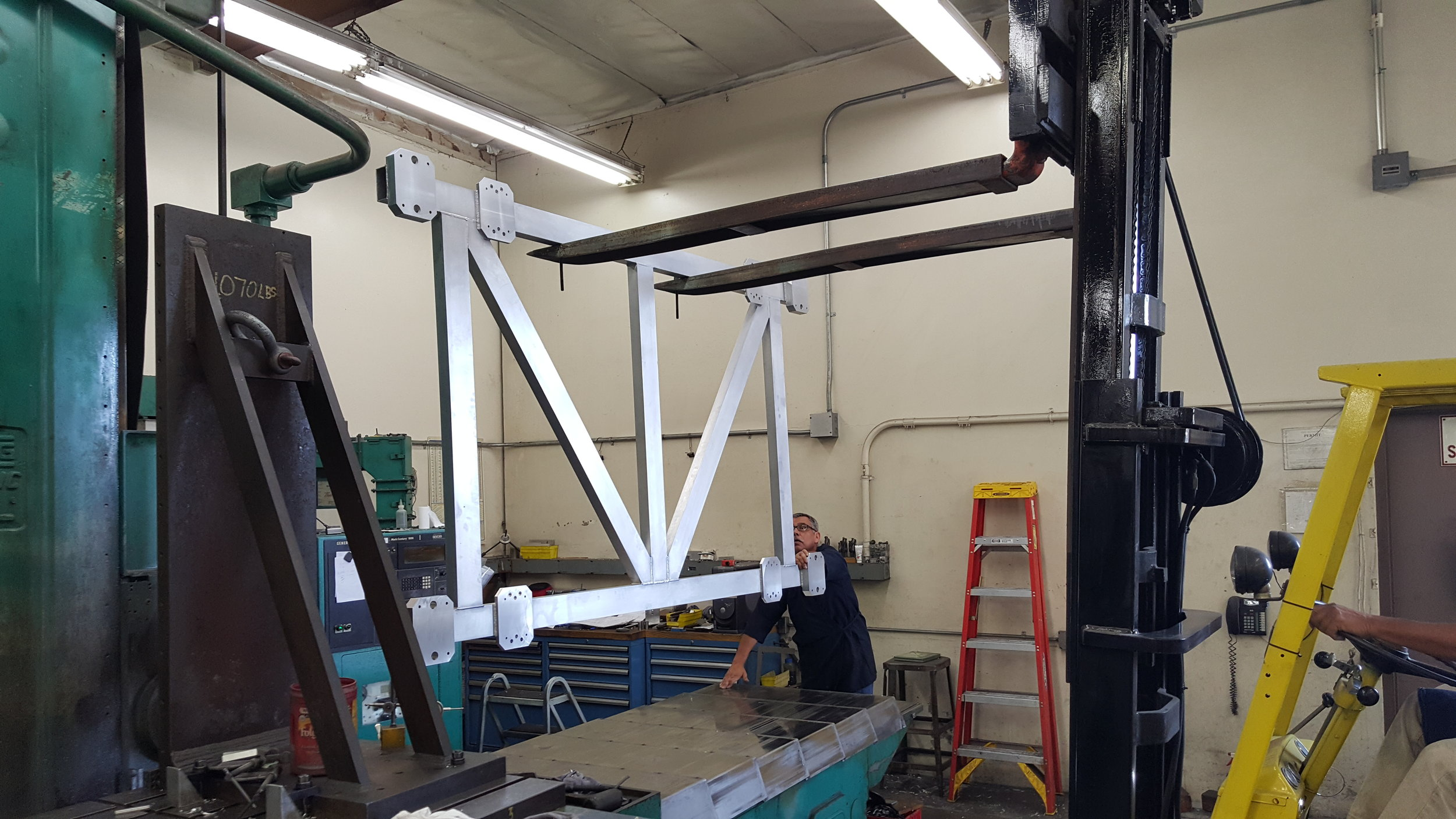 """Alignment fixture on our 96"""" Devlieg Boring Mill"""