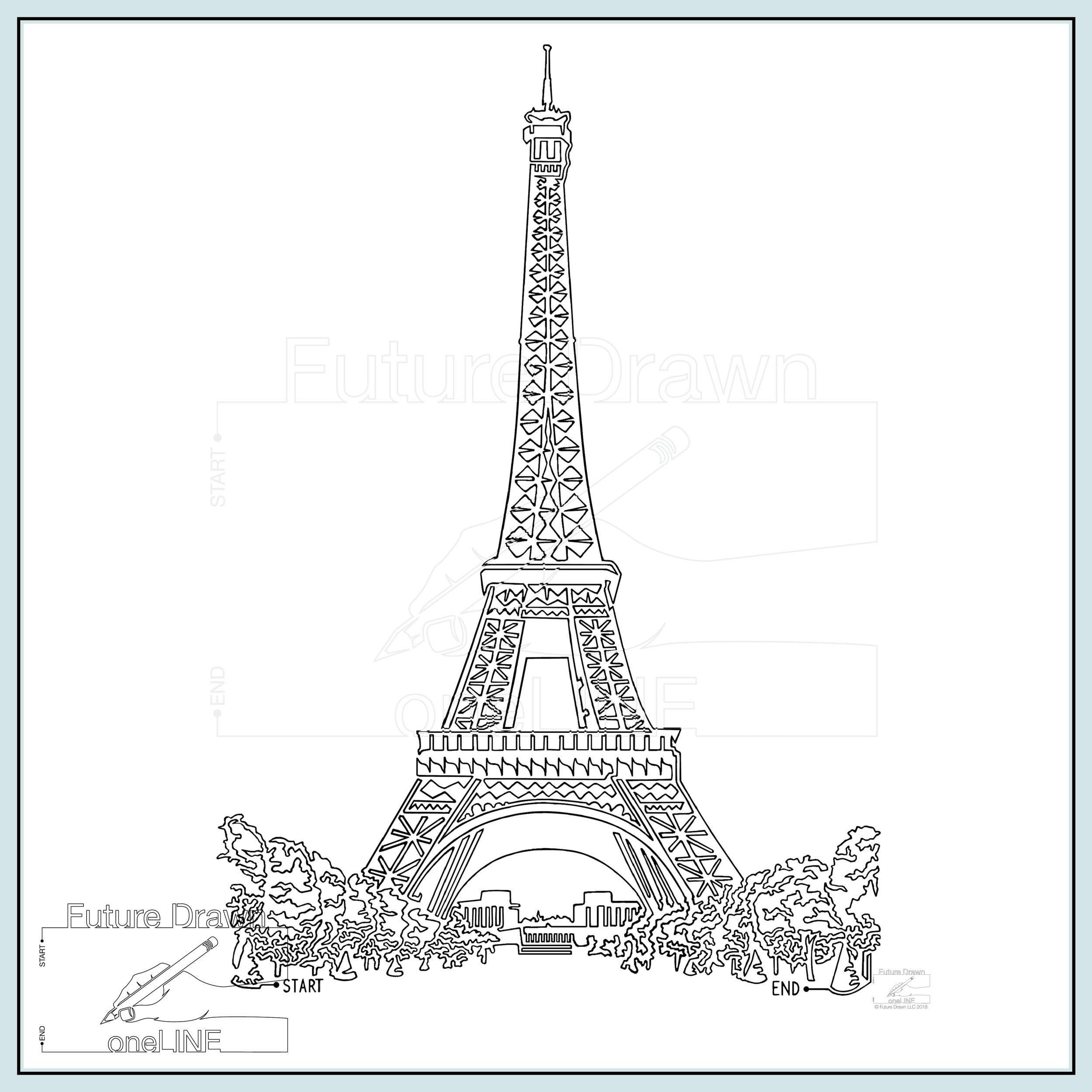 image regarding Printable Pictures of the Eiffel Tower identified as Eiffel Tower within oneLINE- Print Working experience the oneLINE Gallery