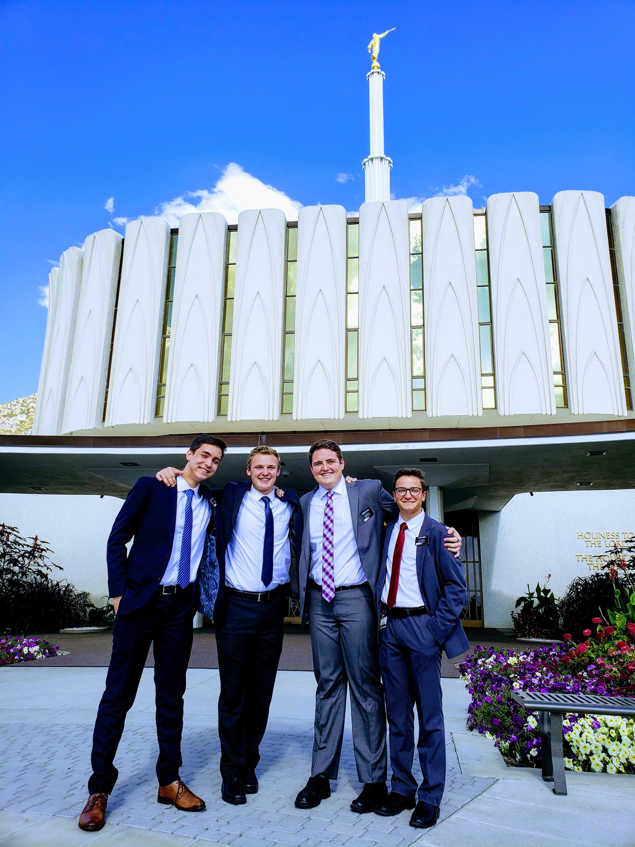 Elder Miner, Elder Batista, Elder Moore and I at the temple! I think it was Elder Batista who didn't take another photo because he didn't realize my eyes were closed, he just thought they got like that when I smile because I'm part Asian, lol.