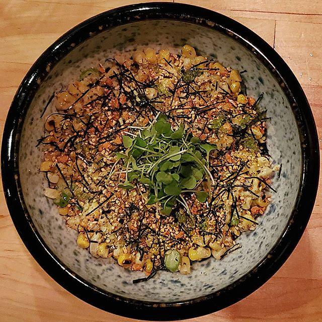 Charred corn with scallion mayo, wasabi tobiko and furikake 🌽 #inseason