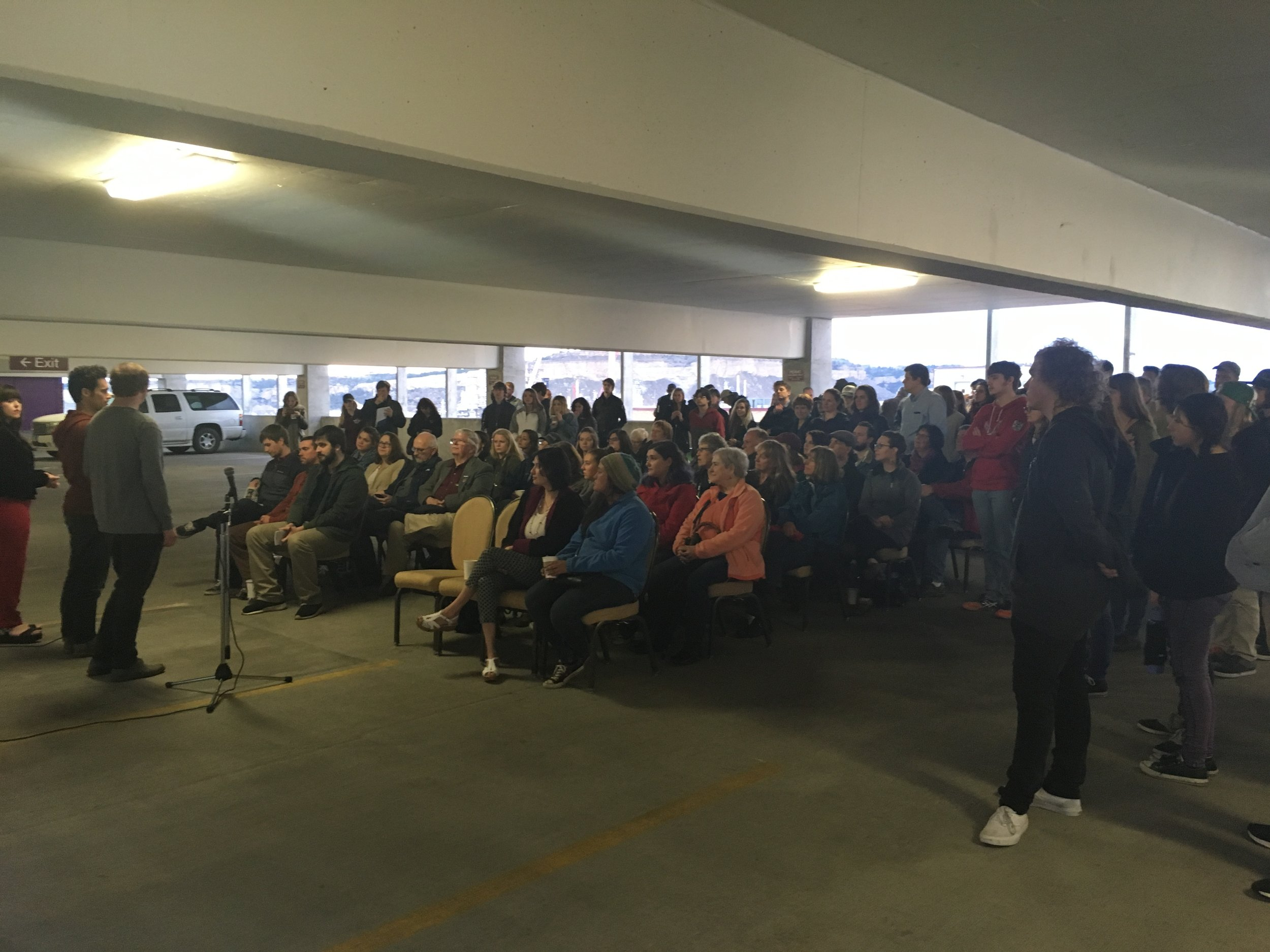 At our first pop-up event, over 100 people gathered to hear local poets perform in a parking garage.