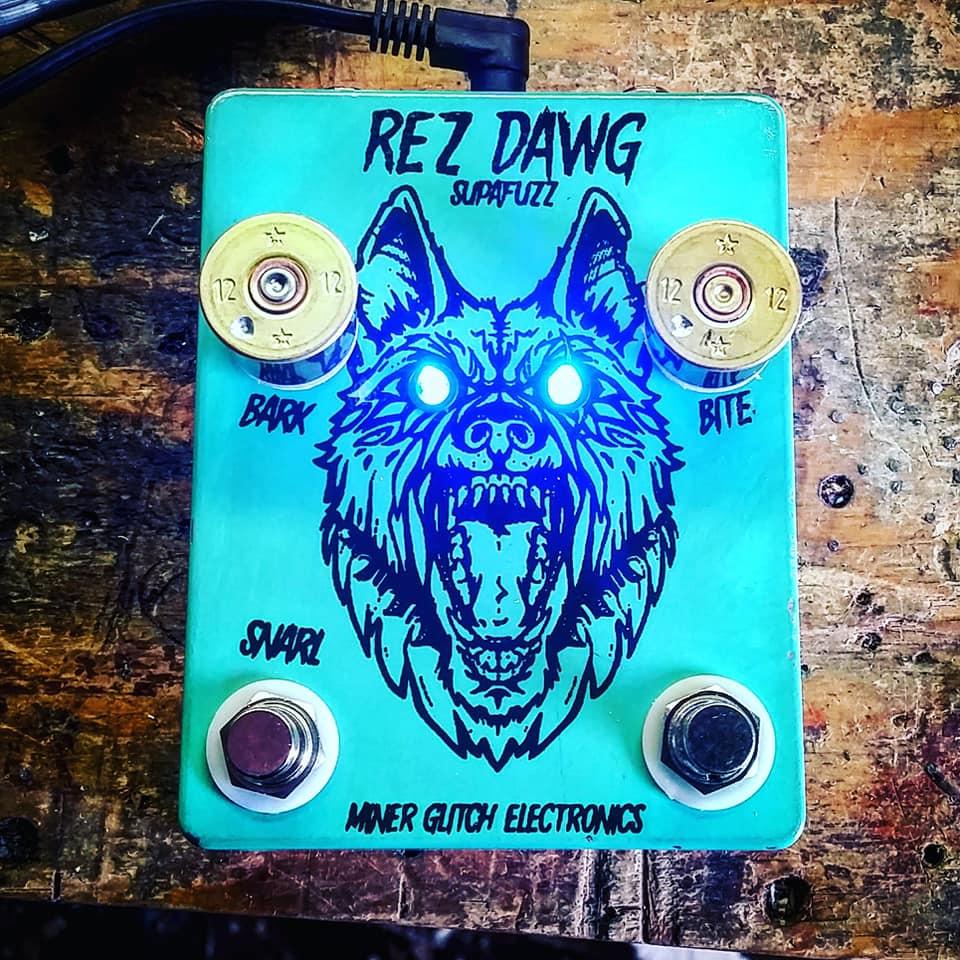 Miner Glitch's newest piece, the Rez Dawg Supafuzz guitar pedal.