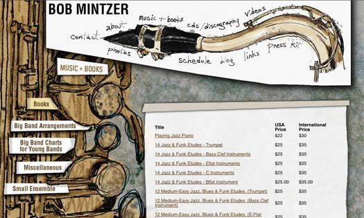 BOB MINTZER, MUSICIAN (ILLUSTRATIONS, SITE DESIGN)