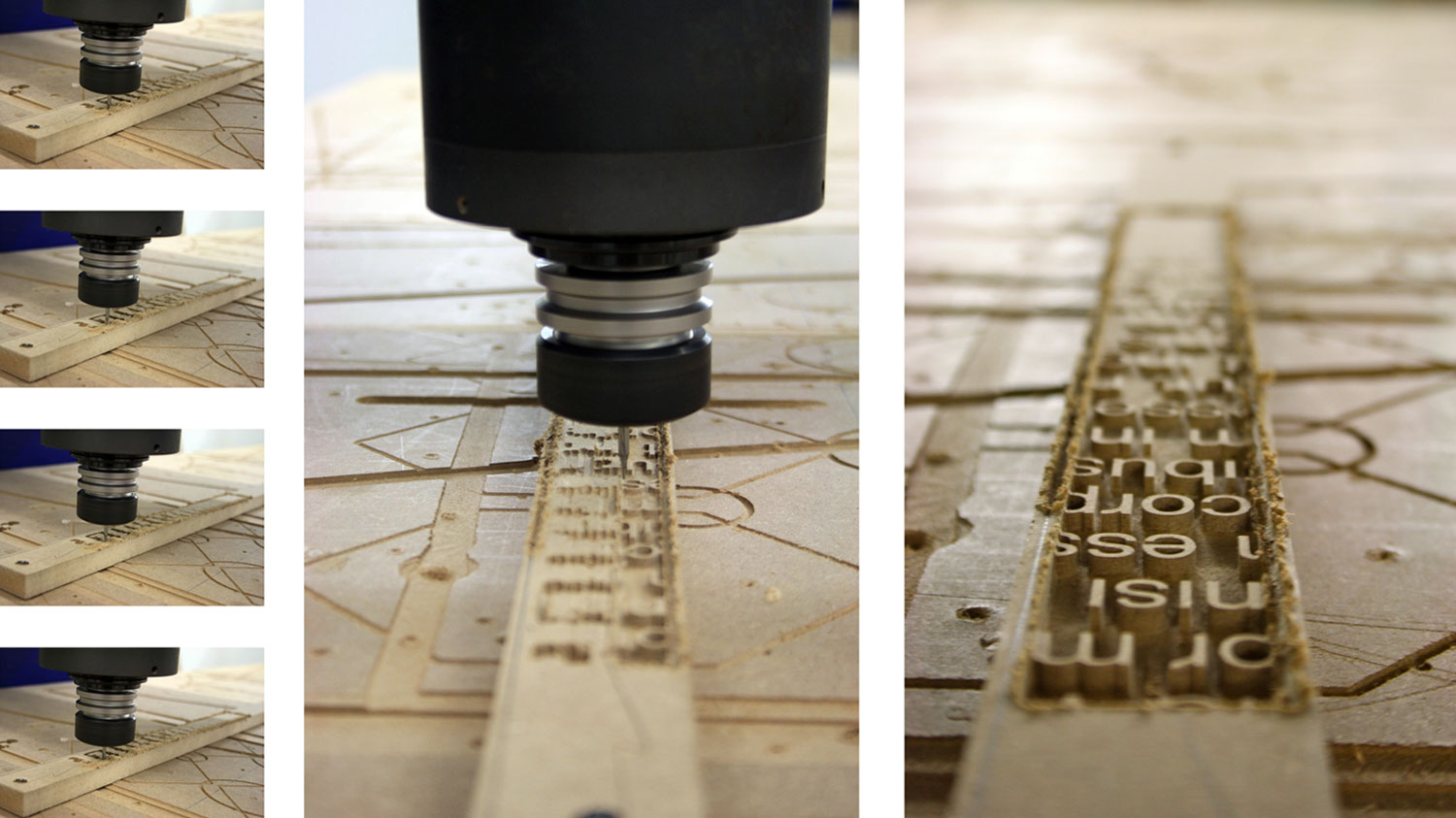 CNC routing tests using different diameter bits
