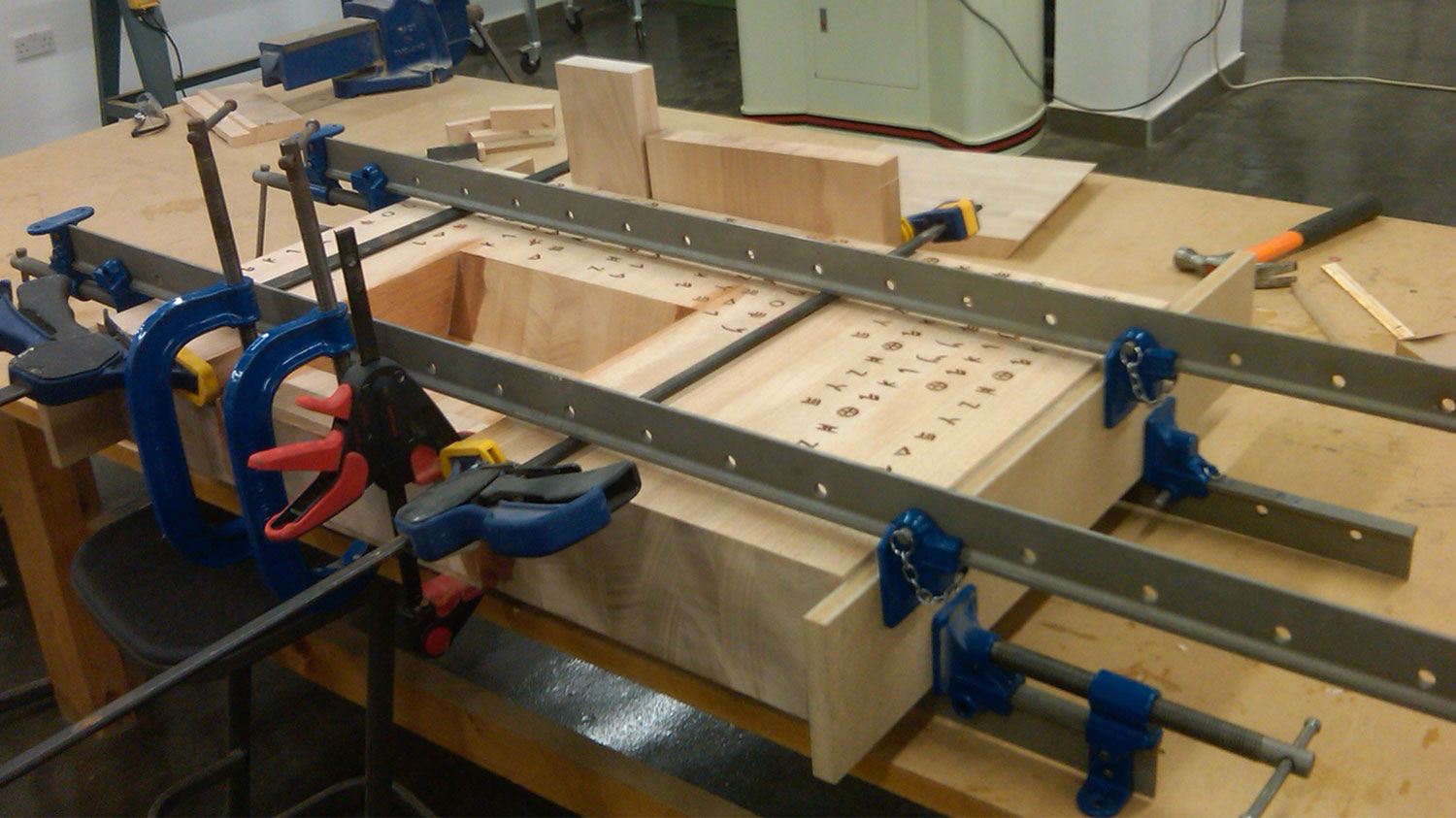 gluing routed blocks together