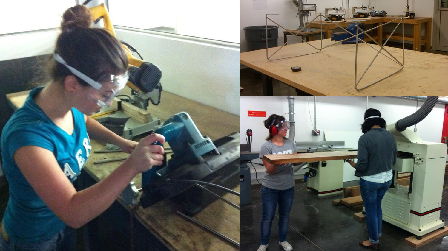 clockwise from left; cutting steel rods, bending rods into place for welding, planing the raw mahogany