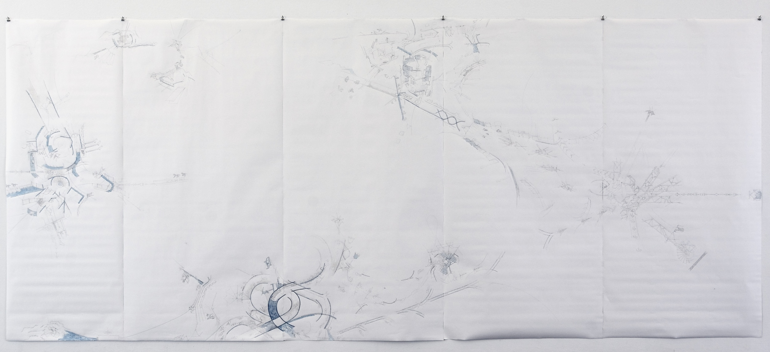 Welt, 2006. Pencil and watercolour on paper, 300 x 600 cm.