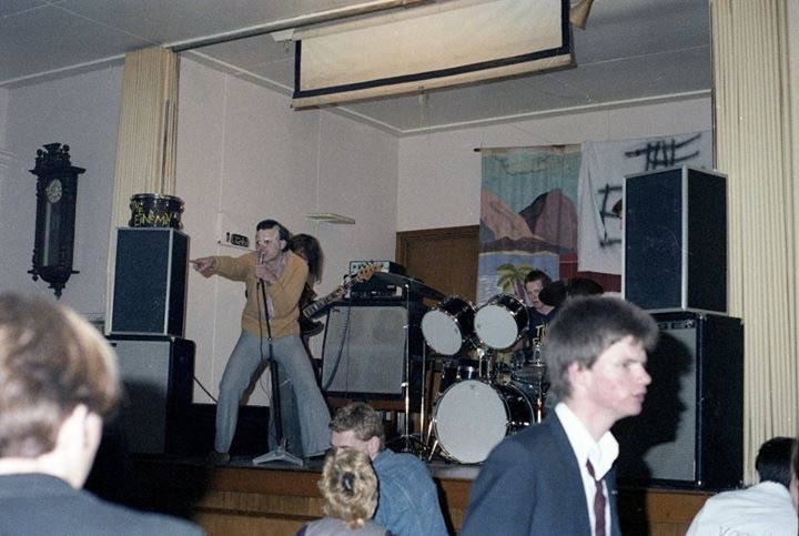 The Enemy at the Old Beneficiaries Hall, Dunedin, 1978, with me on the dance floor (photo by Jeff Batts)
