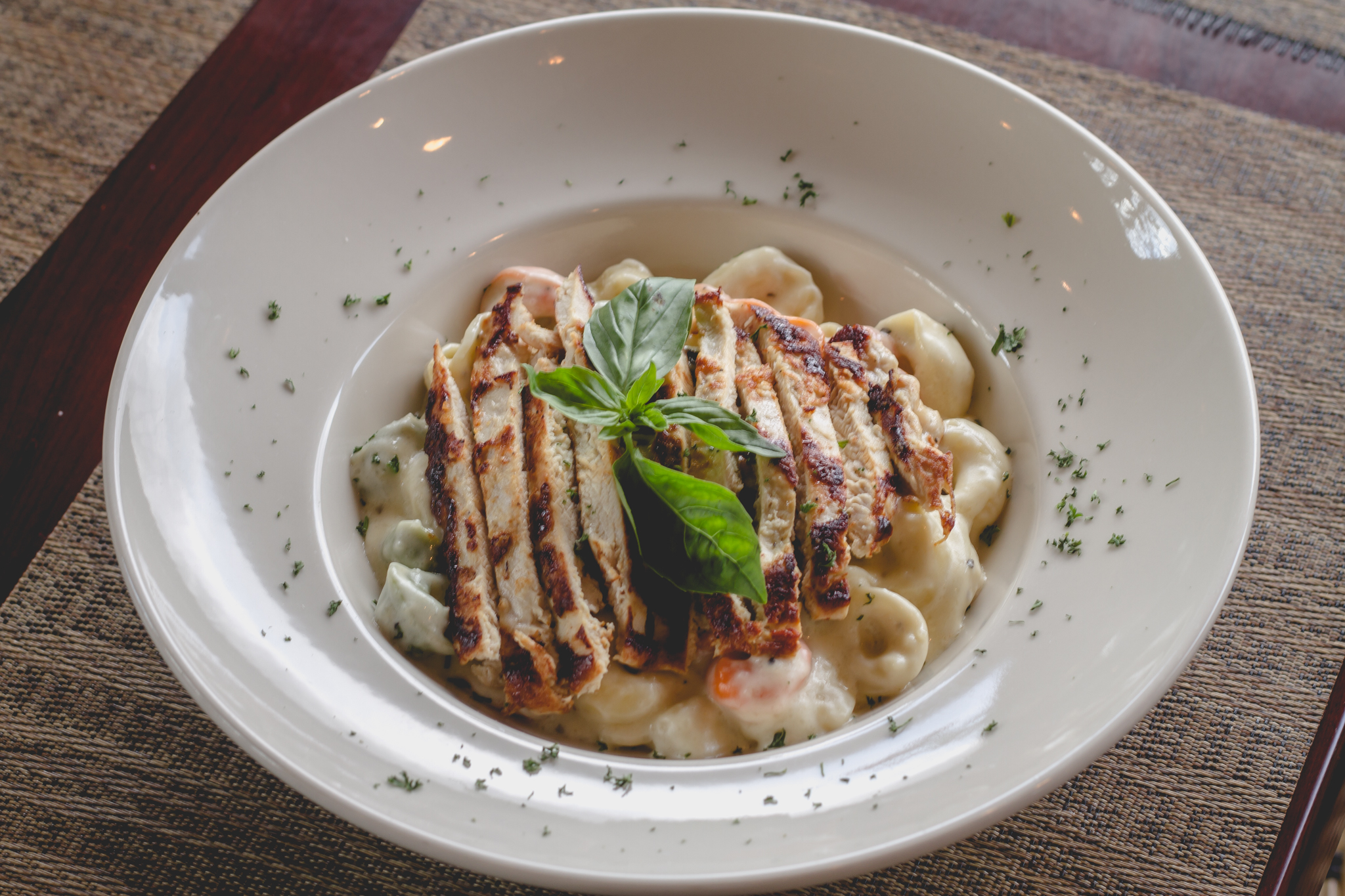 Tricolor Tortelini with Grilled Chicken in Alfredo Sauce