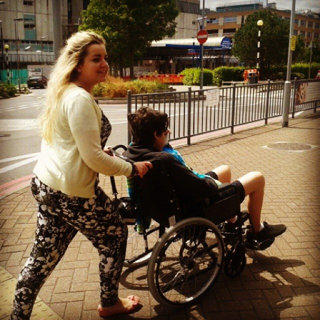 Jonah with his eldest Sister Khiya getting some fresh air in Southampton - June 2014 - shortly after diagnosis for Leukaemia