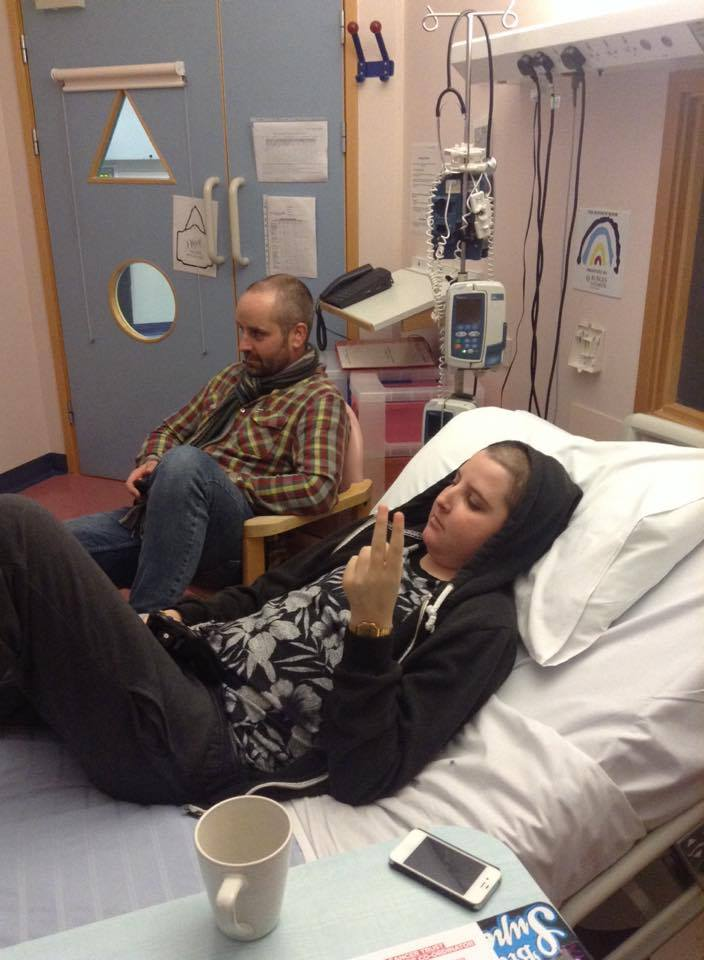 A rather cheeky Jonah and his Dad waiting patiently for his Bone Marrow Tranpslant to arrive - 28th Nov 2014