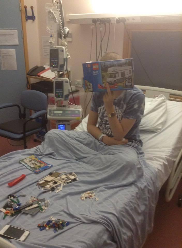 Jonah passing the time building Lego sets. December 2014 - 7 days after transplant
