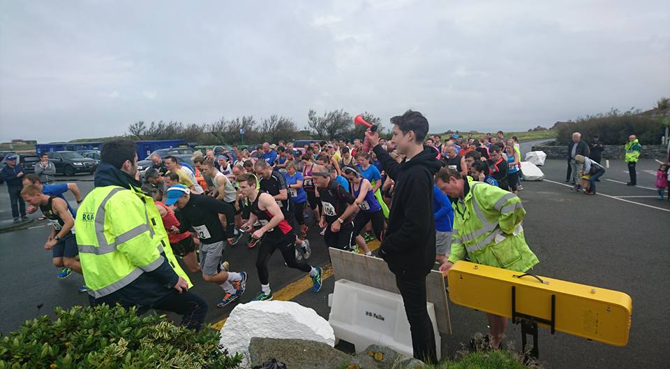 R.G. Falla Quarter Marathon.  Jonah seeing the runners off at the start.  £1,500.00 was raised.
