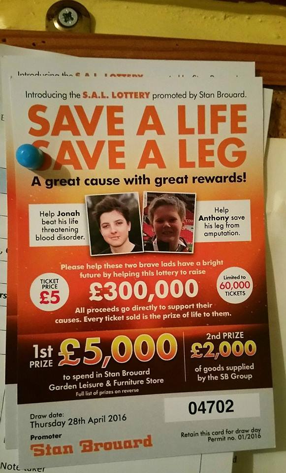 Save a Life, Save a Leg Lottery organised by Rodney Brouard of Stan Brouard Ltd raised an incredible £ 35,000.00