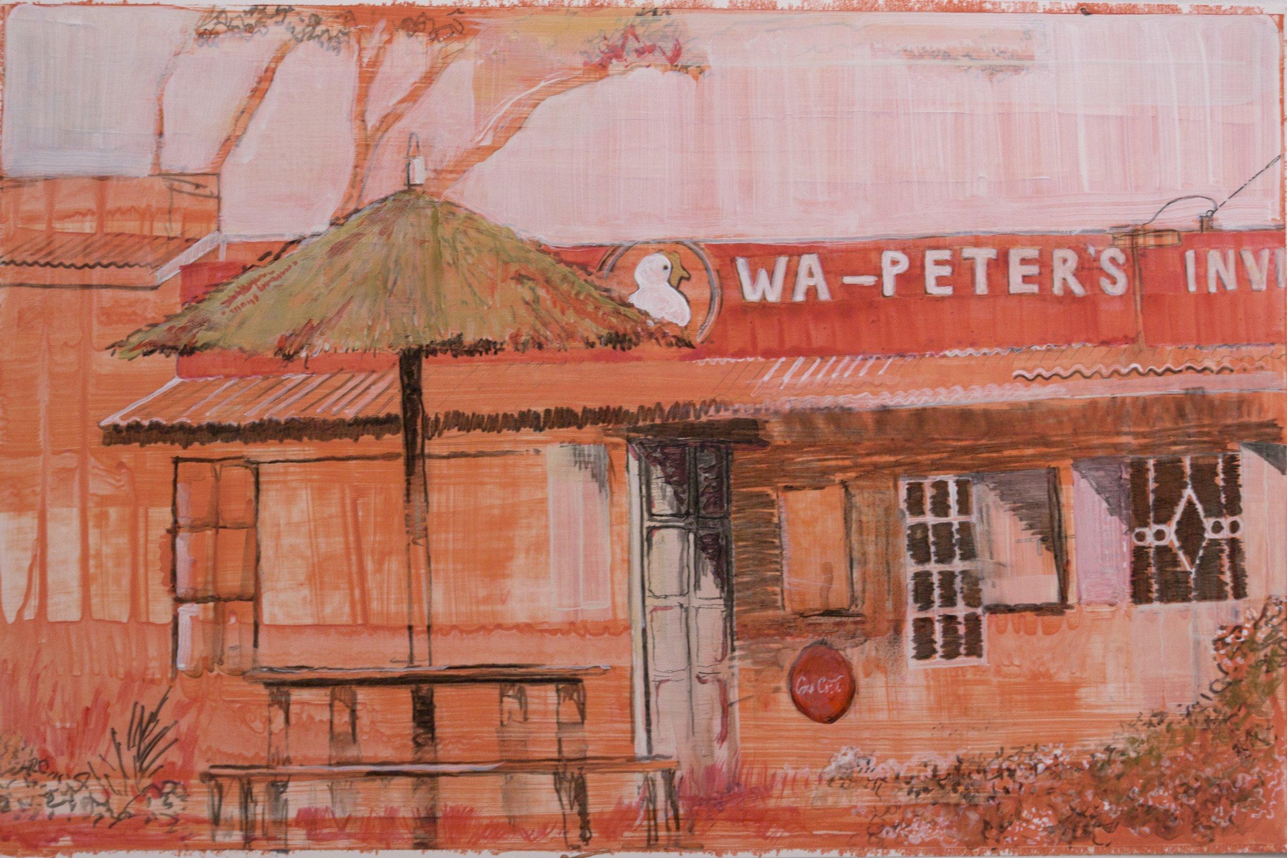 "Past the tea farms in Limuru , 2016, acrylic on paper, 13"" x 20"""