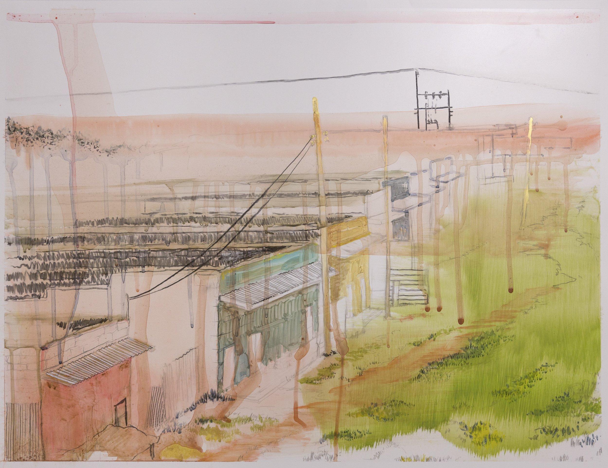 "Storefronts near Lari Hills, 2016, acrylic on paper, 20"" x 26"""