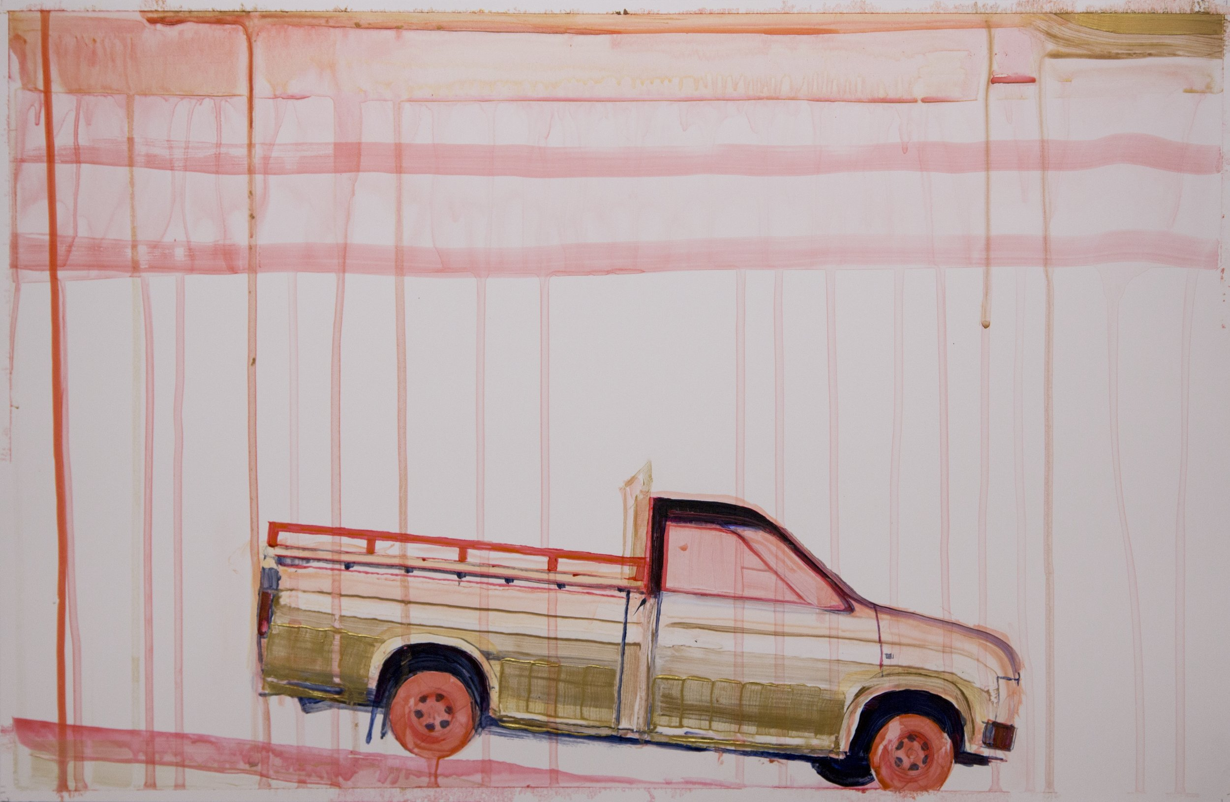 """Parked downhill near Heritage Plaza , 2016, acrylic on paper, 13"""" x 20"""""""